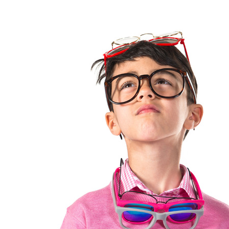 cool backgrounds: Boy thinking with many glasses