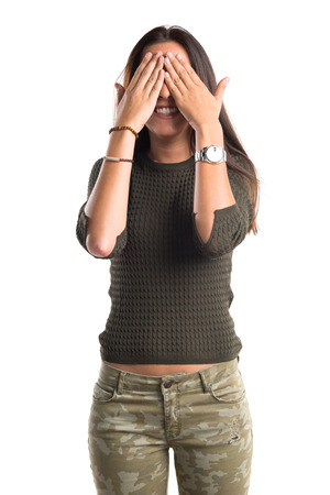 beauty eyes: woman covering her eyes
