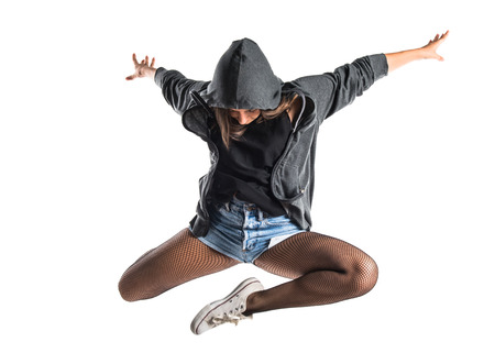 Teenager hip-hop dancer jumping Stock Photo