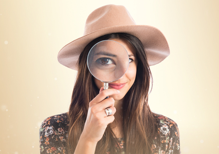 girl glasses: Woman with magnifying glass