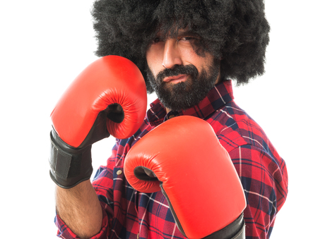 boxing equipment: Afro man with boxing gloves Stock Photo