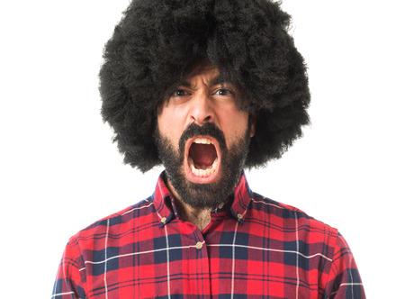 afro man: Afro man shouting
