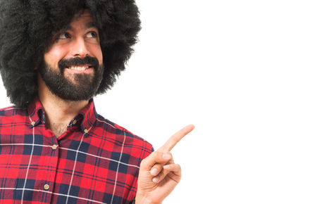 funny hair: Afro man thinking Stock Photo