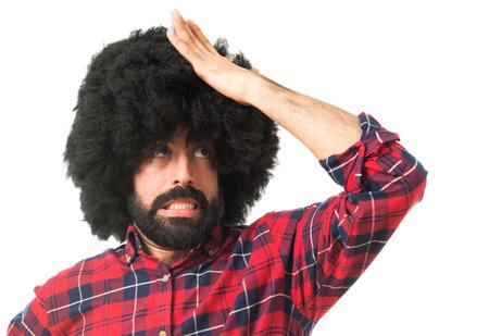 afro man: Afro man having doubts Stock Photo