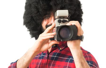 afro man: Afro man filming Stock Photo
