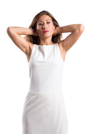 blonde hispanic: woman over white