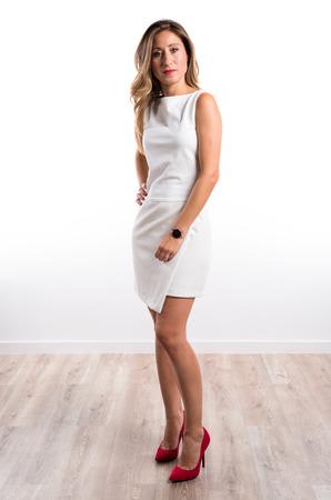 blonde hispanic: Pretty woman in studio Stock Photo