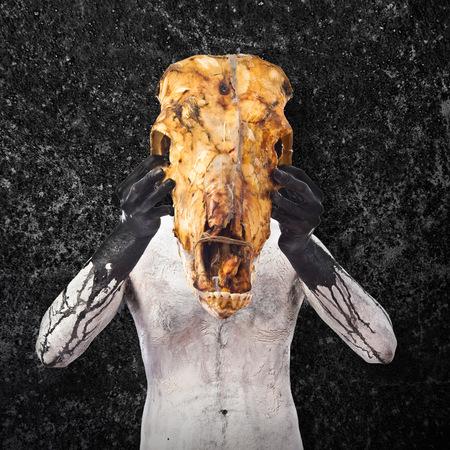 hombre prehistorico: hombre prehistórico con el cráneo de ternera
