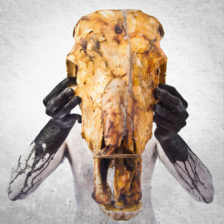 prehistoric man: prehistoric man with veal skull