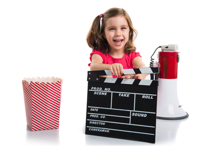 clapperboard: Kid holding a clapperboard