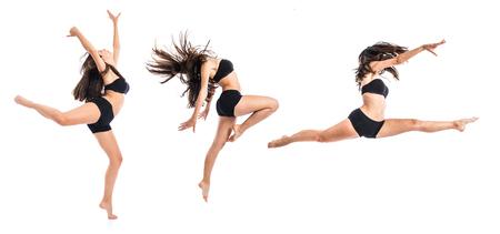 ragazze che ballano: Giovane ballerina saltando su sfondo bianco Archivio Fotografico