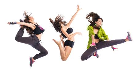 bolantes: Adolescente niña saltando en el estilo hip hop Foto de archivo