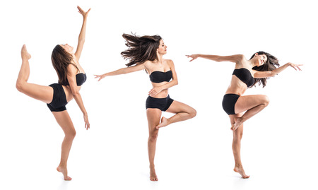ragazze che ballano: Piuttosto fitness femminile in posa Archivio Fotografico