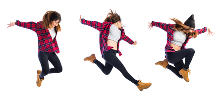 hop: Girl jumping in hip hop style