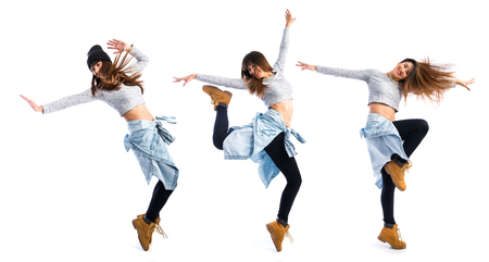 taniec: Dziewczyna tańczy street dance Zdjęcie Seryjne