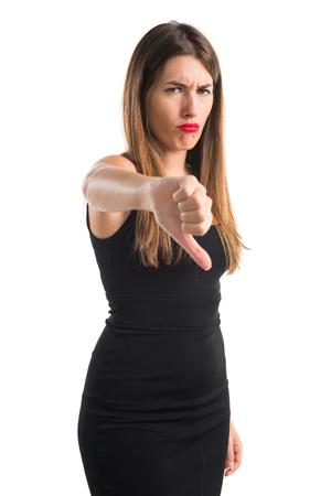 pulgar abajo: Girl with thumb down