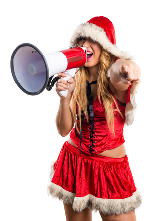 woman shouting: Christmas woman shouting by megaphone