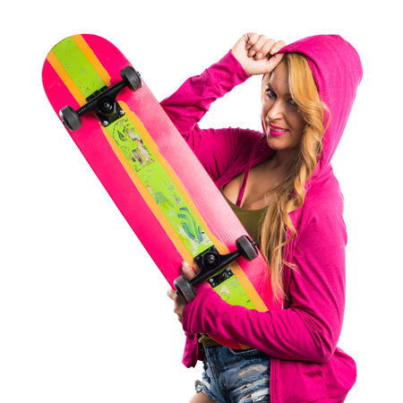 sweatshirt: Chica Skater con la camiseta rosa