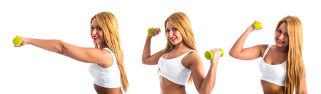 weightlifting: Sport woman doing weightlifting