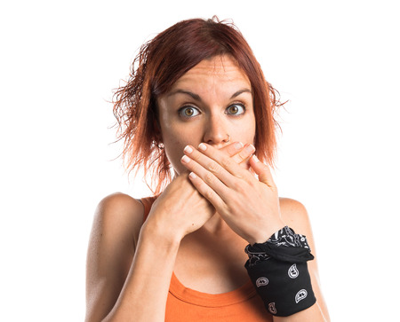covering: Woman covering her mouth