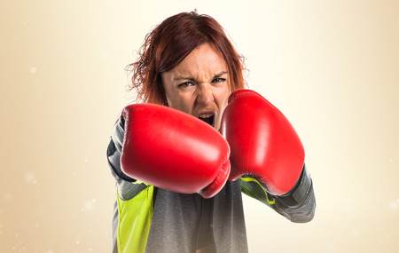 muscular woman: Woman with boxing gloves