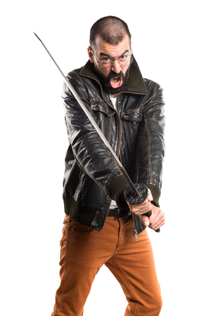 pimp: Pimp man with katana Stock Photo