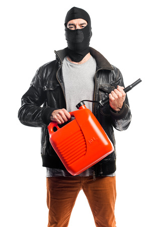 Robber holding petrol