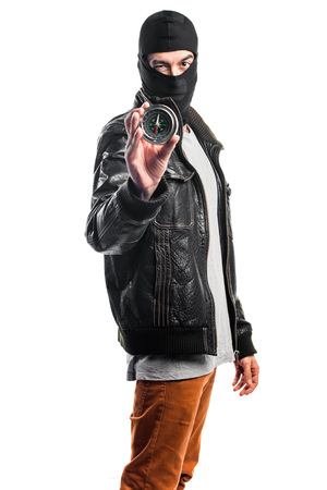 male killer: Robber wearing a leather jacket Stock Photo