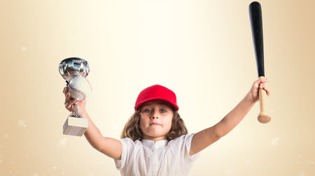 award trophy: Girl playing baseball