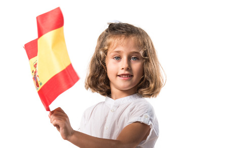 spanish flag: Kid holding a spanish flag
