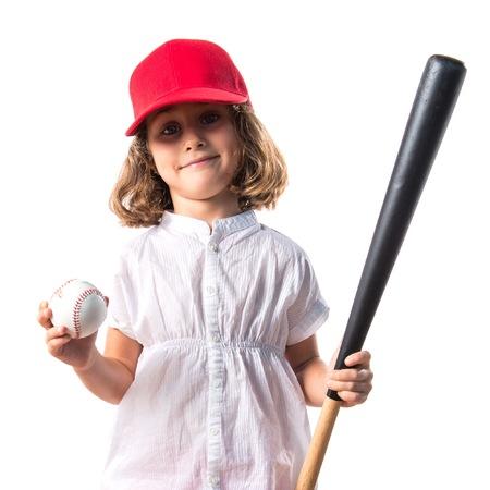 blonde hispanic: Girl playing baseball