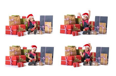 mockery: Blonde christmas kid around several presents