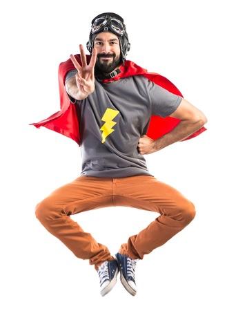 counting: Superhero counting three Stock Photo