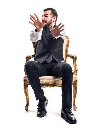 frightened: Frightened Businessman Stock Photo
