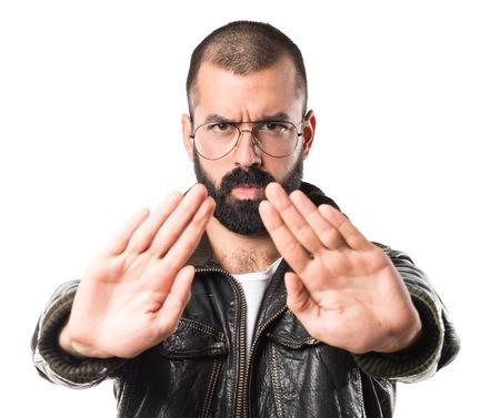 pimp: Pimp man making stop sign Stock Photo