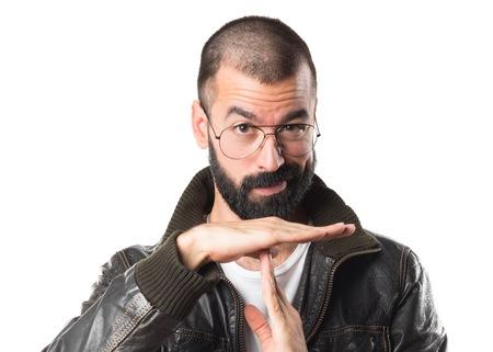 pimp: Pimp man making time out gesture Stock Photo