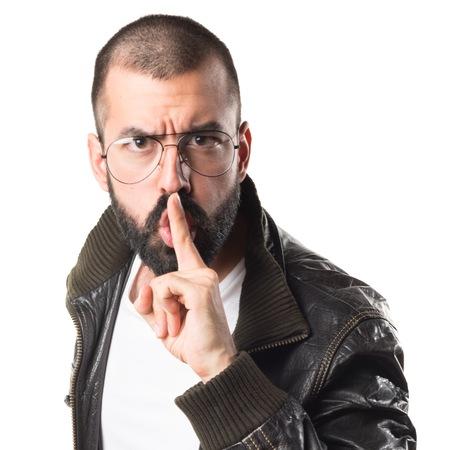pimp: Pimp man making silence gesture