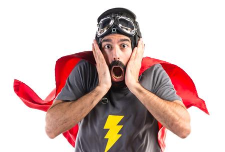 sorprendido: Superhero haciendo el gesto de sorpresa Foto de archivo