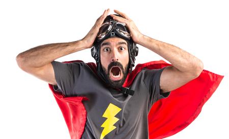 sorpresa: Superhero haciendo el gesto de sorpresa Foto de archivo
