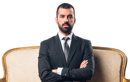 cross ties: Businessman with his arms crossed Stock Photo