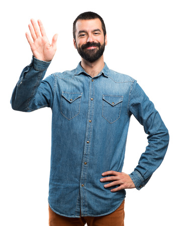 saluting: Man saluting Stock Photo