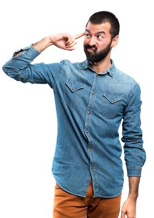 Man making crazy gesture Stock Photo