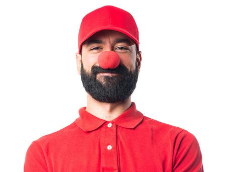 express positivity: Pizza delivery man doing a joke