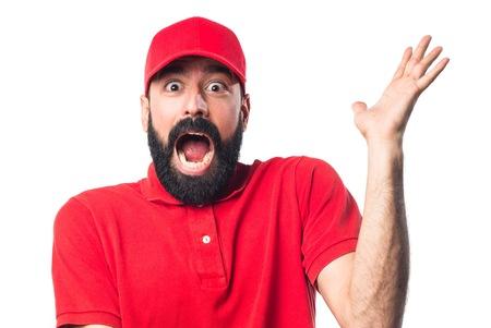 uomo rosso: Pizza consegna l'uomo facendo il gesto di sorpresa Archivio Fotografico