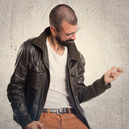 pimp: Pimp man making guitar gesture Stock Photo