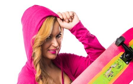 sudadera: Chica Skater con la camiseta rosa
