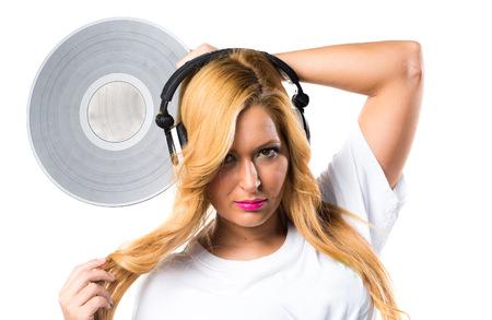 Woman holding a vinyl