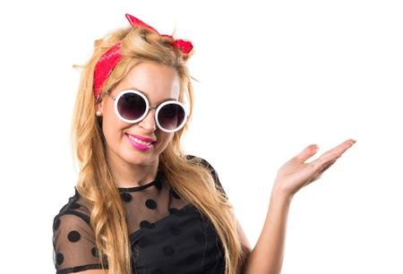 pinup: Pin-up girl presenting something