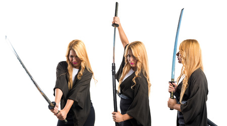 samourai: Femme v�tue comme samurai Banque d'images