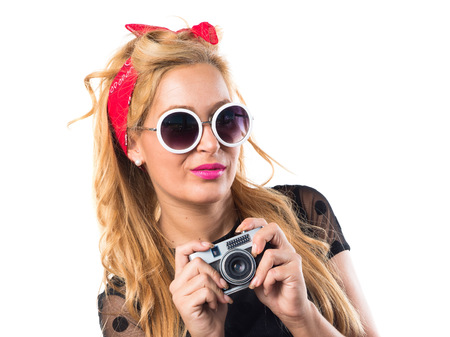 pinup girl: Pin-up girl photographing Stock Photo